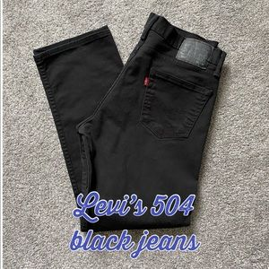 Levi's 504 Men Black Jeans - Size 34X30